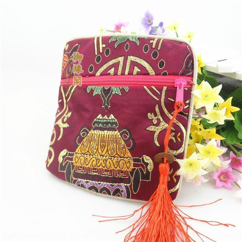 Aipur Jade Presente Requintado Presente Zipper Jóias Pano Brocade Jóias Veludo Pano Bag Zipper Bag