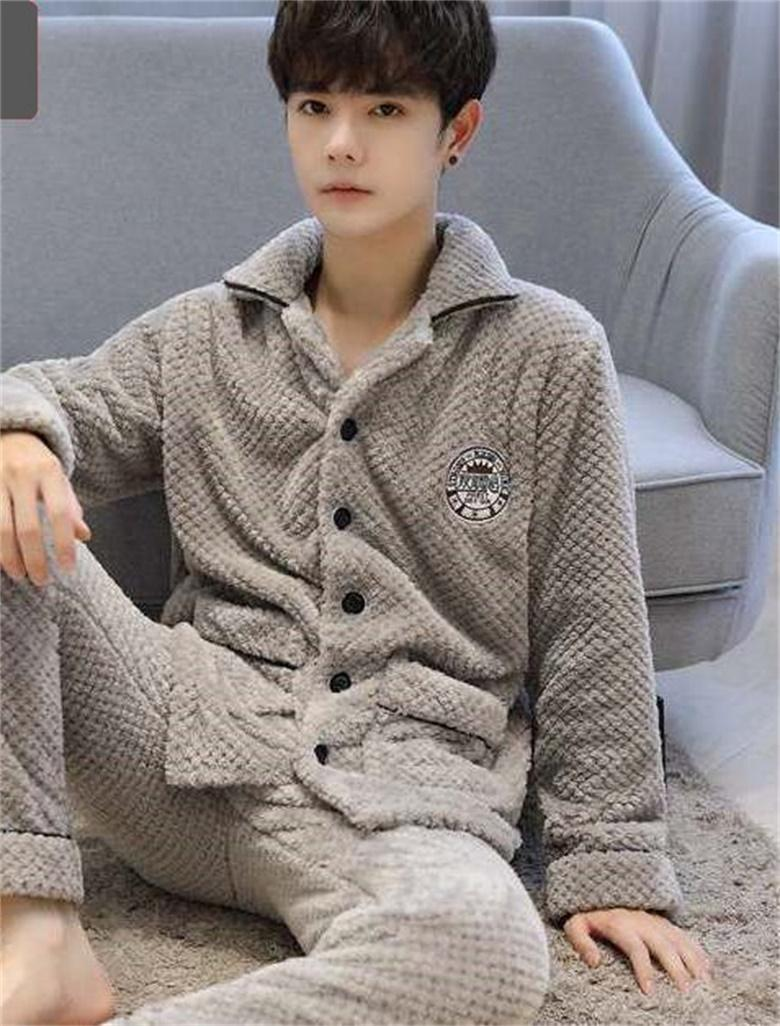 2020Men's Autumn and Winter Suede Pajamas