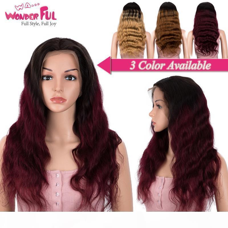 Vague corporelle dentelle avant perruque coloré perruque de cheveux humains ombre 10-30 pouces perruques rouges pour femmes noires brésilien 1B 99J dentelle front front remy