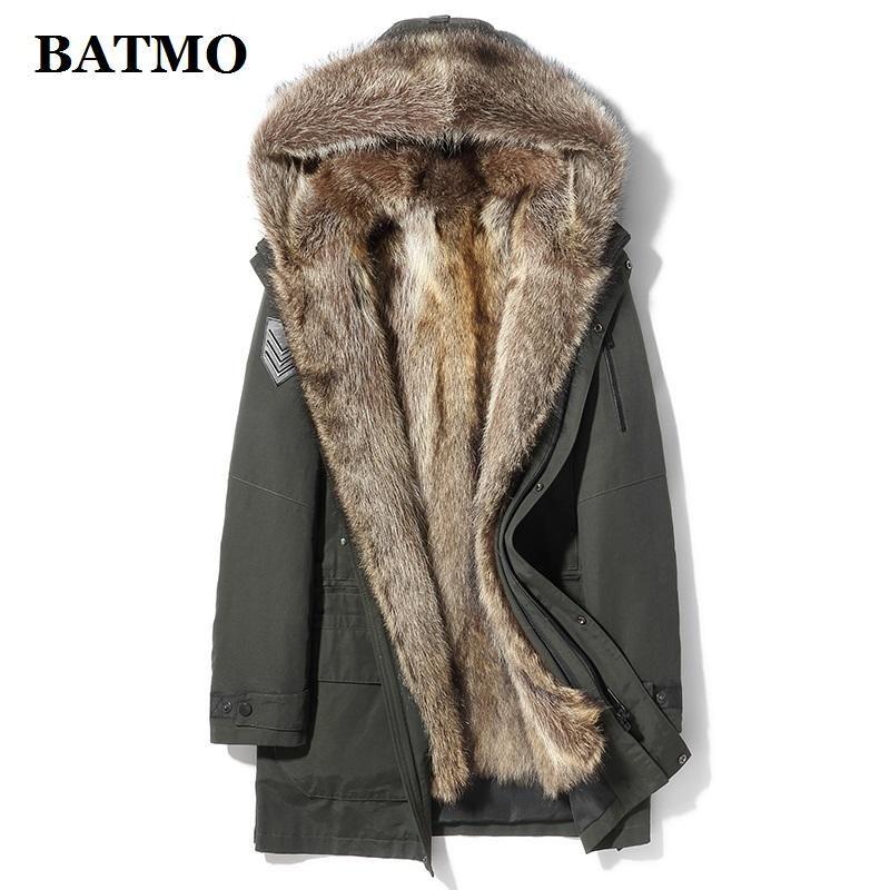 BATMO натуральный мех енота collarliner с капюшоном ветровки мужчин, мужские зимние теплые куртки с капюшоном, мужские шубы X29011