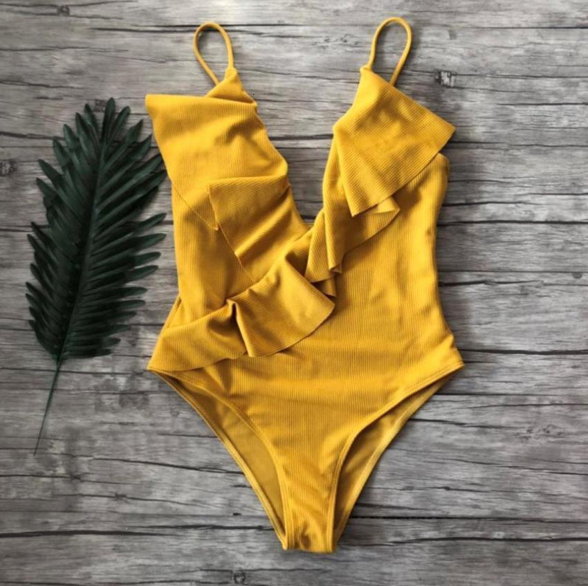Maillot de bain solide à volants neuf à volants pour femmes multicolores sexy bikini gq4l