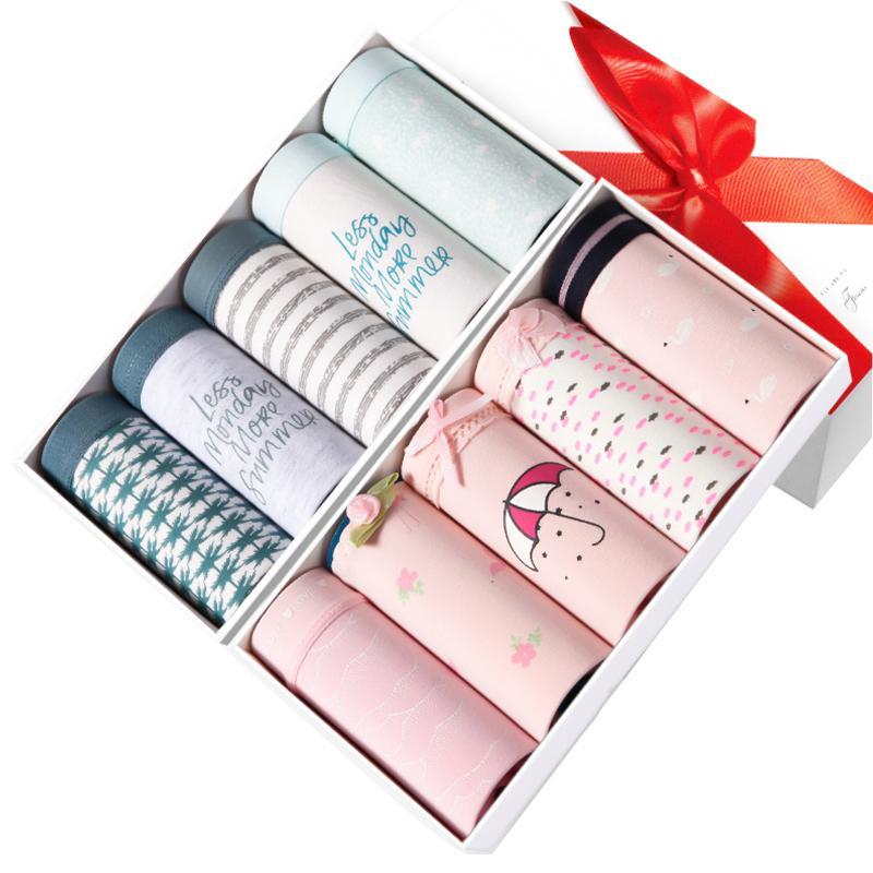 ZJX 5pcs / lot mutandine 100% cotone comfort ragazze senza cuciture belle stampa slips traspirante donne biancheria intima biancheria intima