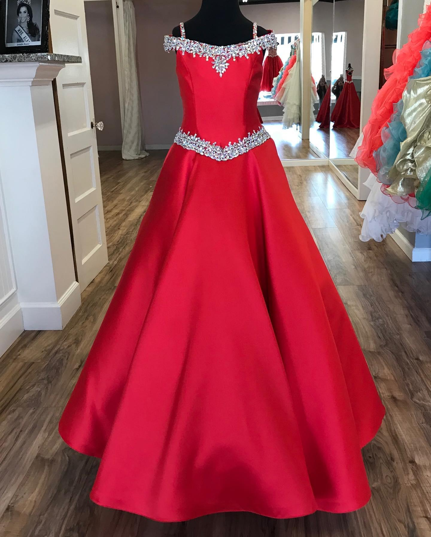 Little Flower Gdress per adolescenti Juniors Toddlers 2021 Bordare AB Pietre Crystal Long Pageant Gown for Girl Formal Party