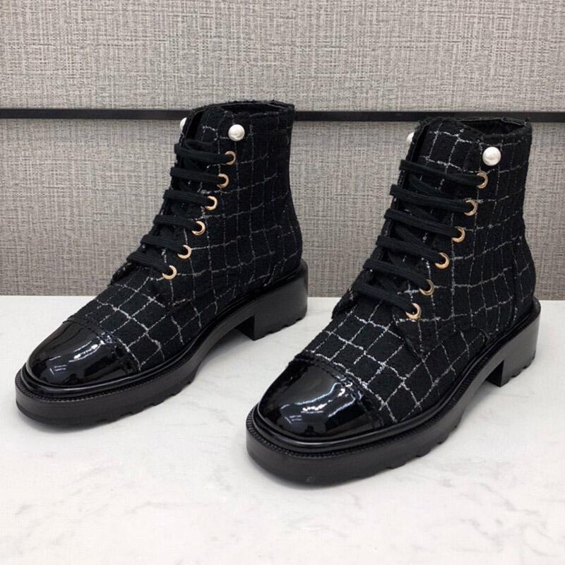 Новый Париж Роял Принцессы Лодыжки Пинетки Женщины C Martin Boots Плед Твид Оухин Жемчужные Кнопки Boots Винтажные Обувь Роскошные Дизайнеры Обувь