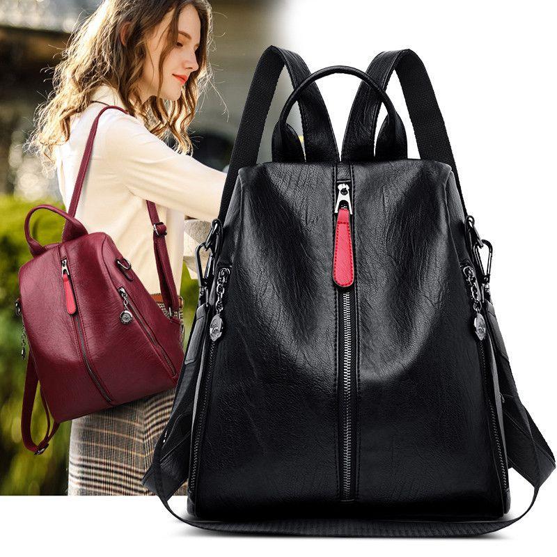Women Backpacks High Quality Durable Genuine Sheepskin Leather Anti Theft Female Packback Casual Ladies Travel Back Bag Mochilas Q1113