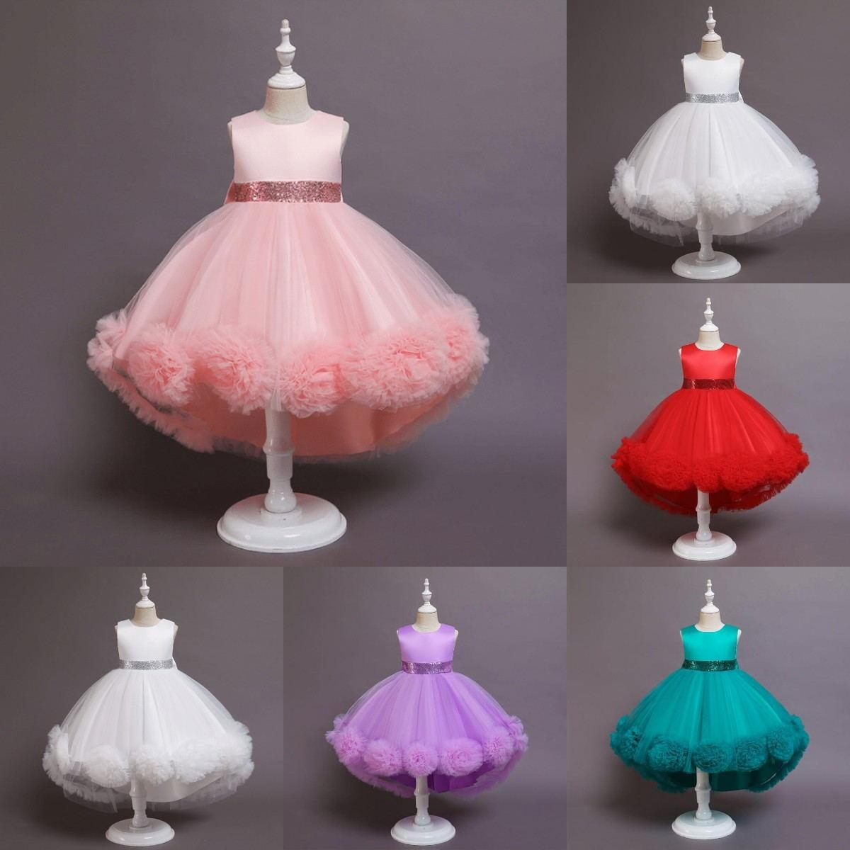 5 Colors In Stock Flower Girls Dresses with Sequins Belt Handmade Flowers Pageant Dress for Little Girl Ready to Wear