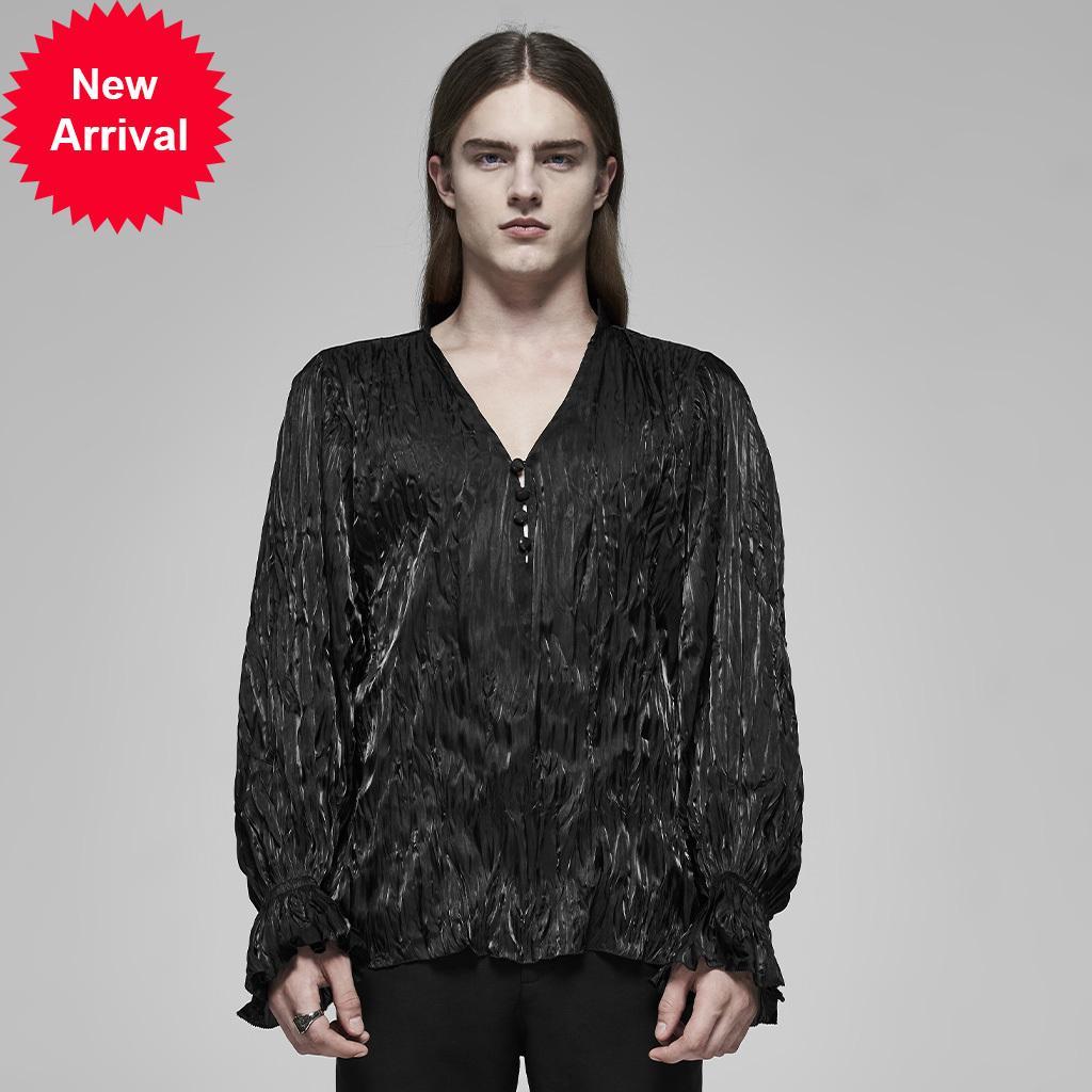 Рубашка для мужчин на панк-рожье великолепные рубашки с длинным рукавом великолепные ретро кнопки украшения фреоно-манжеты свободная партия ужин черный перо блузка