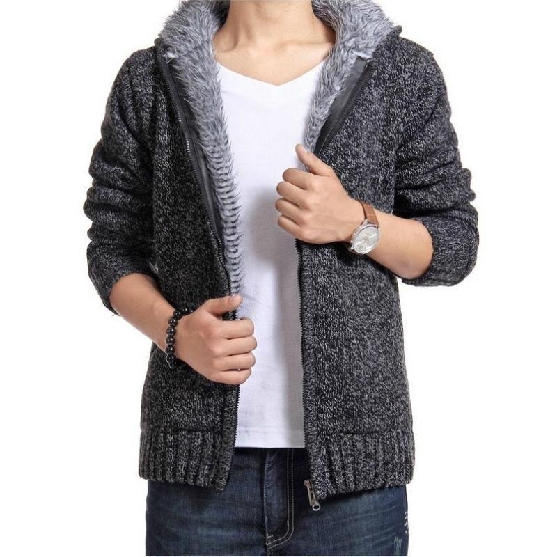 Automne hiver Hommes épais collier de collier à glissière à glissière à glissière à glissière à glissière d'hiver en molleton en molleton sweater Sweater SweaterSurn-down Colar 201126