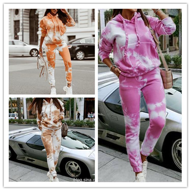 2020 Outono Europeu e Americano / Inverno Estilo Quente Feminino Gravador Gravador - Tintura de Mangas Longa Calças Mulheres Sweater Suit