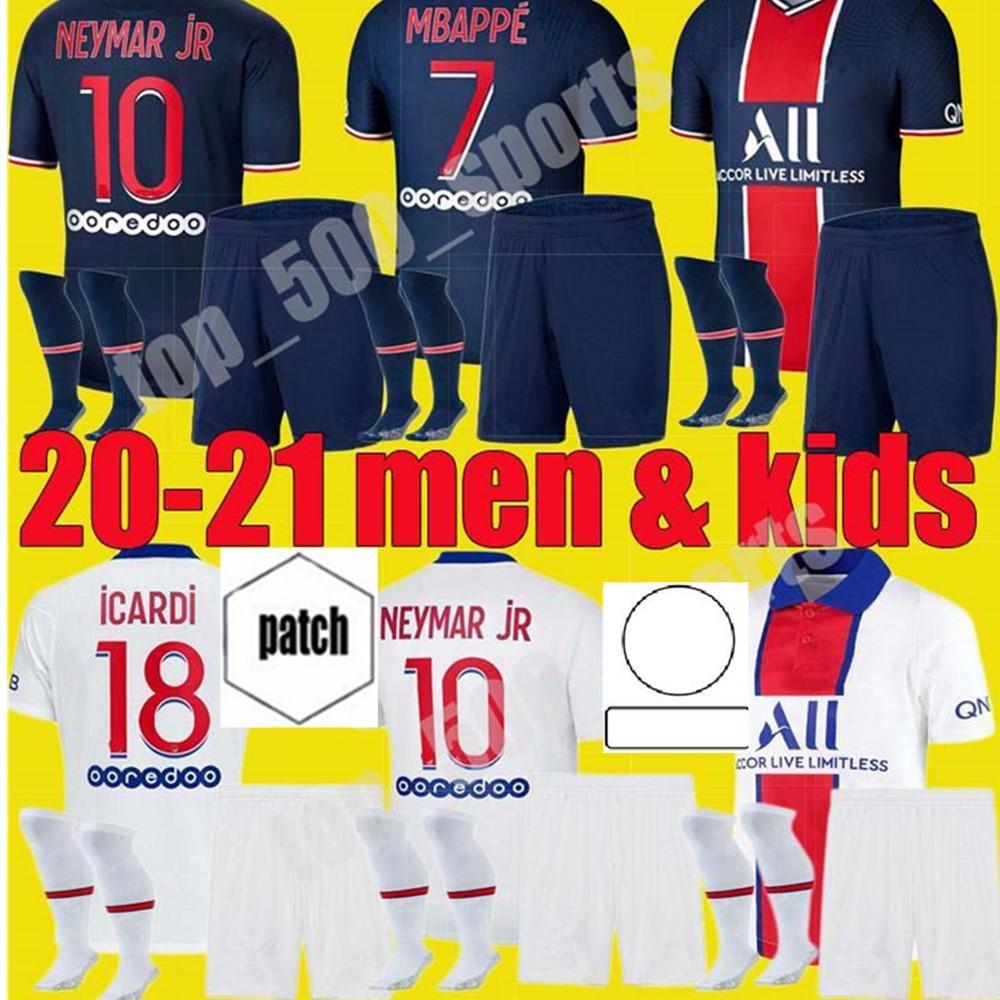 남자 키트 키트 축구 2020 2021 MBappe Cavani 홈 멀리 축구 유니폼 20 21 Neymar JR Icardi Marquinhos Kits 제 3의 마이야 롯 드 발