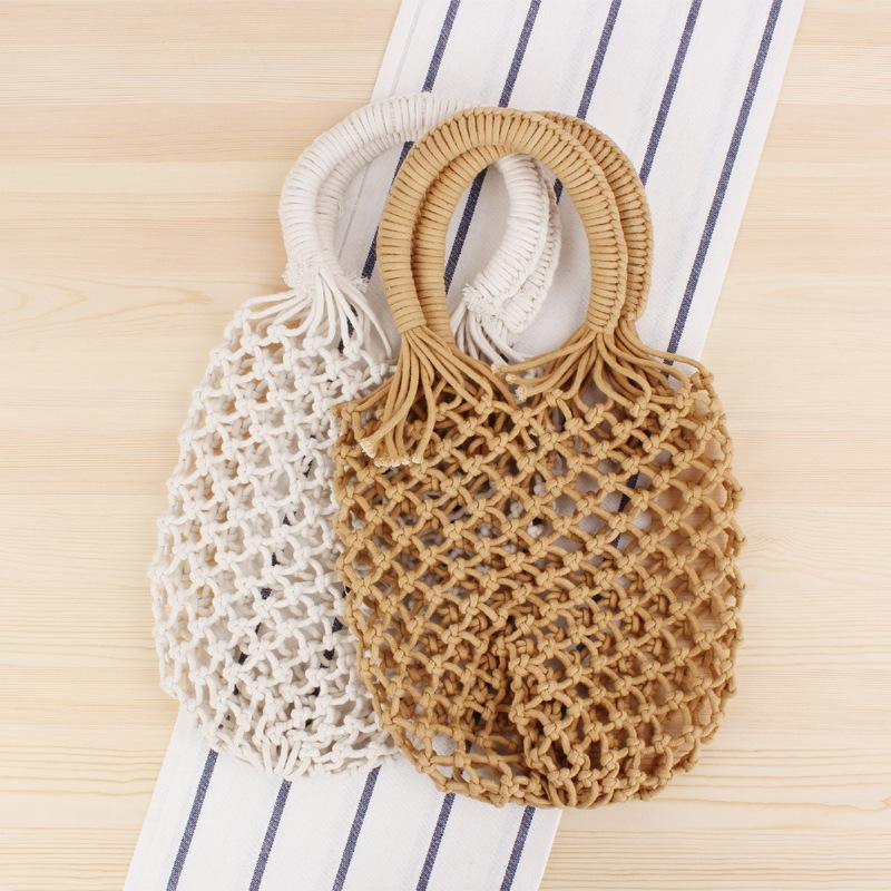 Borse intrecciate più vesli con borse da donna con sacchetto di spiaggia a maniglia superiore per sacchetti della spesa estiva Corda Boemia 2020 cotone cavo per signore