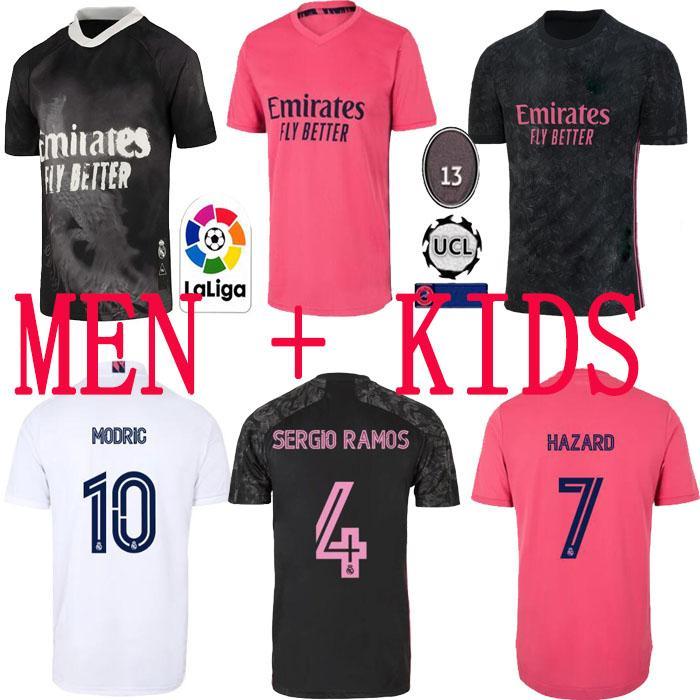 Top echte Madrid-Trikots 2020 21 Fußball-Fußball-Hemd Gefährdung Sergio Ramos Benzem Asensio Camiseta Männer + Kids Kit 20/21 Vierter 4. Händel