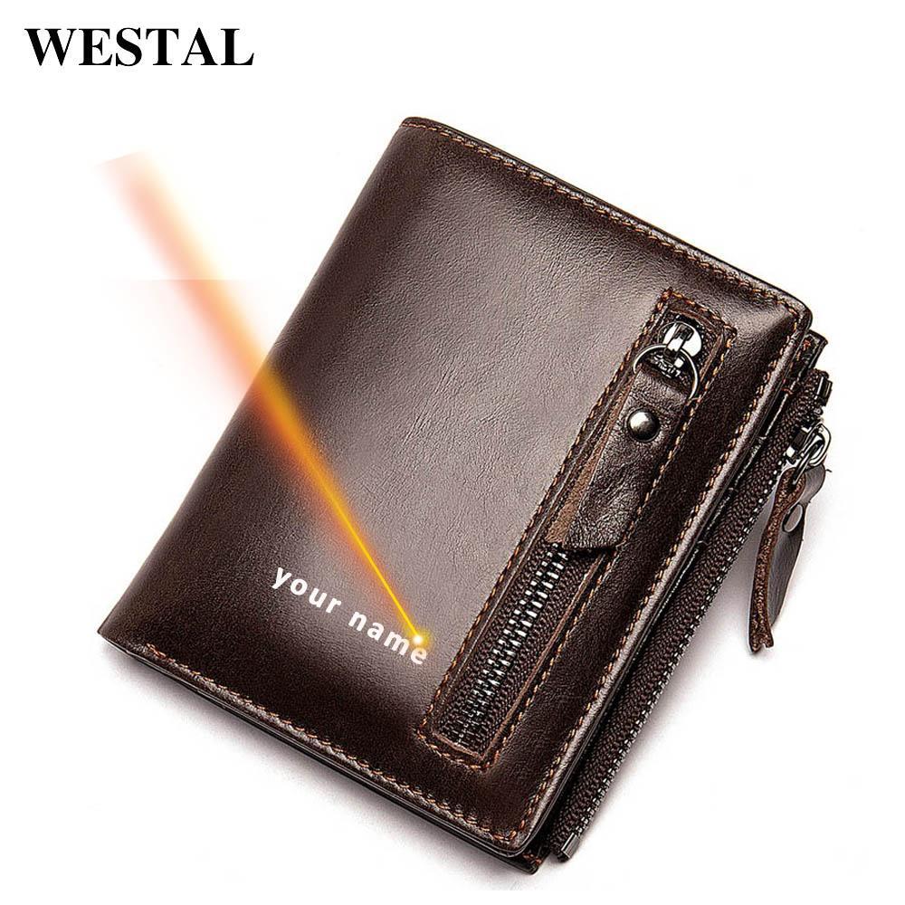 Westal Engraving Wallet da uomo Portafoglio in vera pelle per uomo Slim Portafogli Portabicchieri da uomo Portafogli in pelle Porta carte maschili 6046