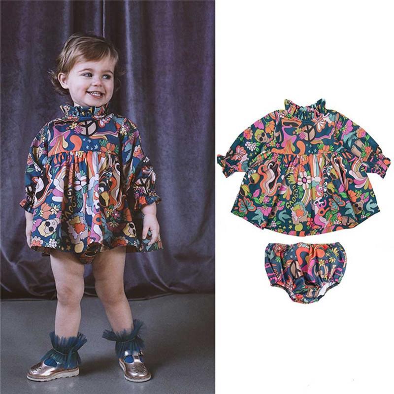 Enkelibb RapperryPlumblum Toddler Девушка Марка Одежда SetsArt Дизайн Длинные Рукава Блузка и Отель Floomers Для Осевной Одежда Девушка 201126