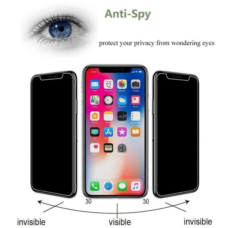 حامي الشاشة، 3 × الخصوصية مكافحة تجسس زجاج الشاشة الزجاج المقسى حامي لفون XS / XS ماكس / XR، مكافحة السعي