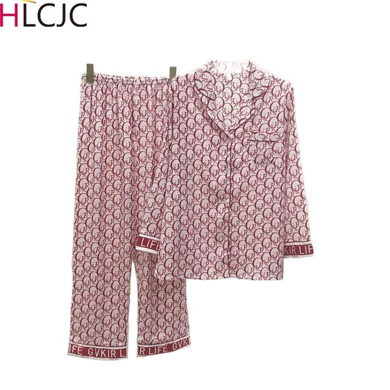 Femmes Silk Pyjama Ensembles Satin Pajama Soirée Sleepwear à manches longues De Grande Taille Mode Pyjamas pour Fille Nightwear Costume Accueil Nouveau Style 2020 Y200708