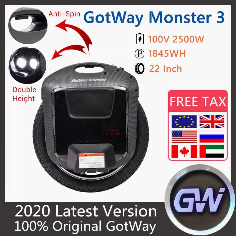2020 New Original Gotway Bovode Monster 3 Unicycle 22 인치 100V 1845WH 3 세대 몬스터 자기 균형 한 바퀴 전기 스쿠터