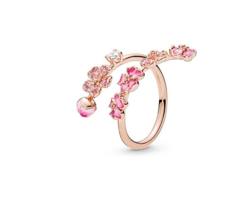 New Flower Ring CZ Diamante Aberto Anéis Mulheres Jóias Para Pandora 925 Sterling Prata Anel de Casamento Conjunto Com Caixa Original