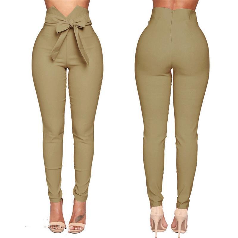 Mode Frauen Hohe Taille Beiläufige Hosen Mode Damen Bowknot Lange Slim Skinny Hose Bandage Elastische Bleistifthose mit Schärpen