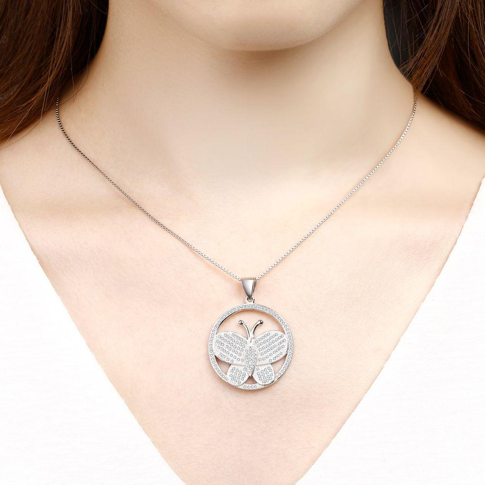 Genuine 925 Sterling Silver Women's Necklace butter-fly Design 208 stons Pendant inlay 2 free necklace Top Quality