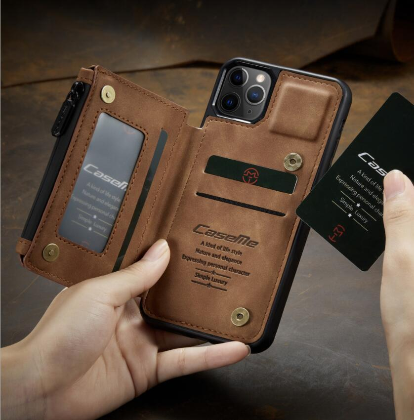 iPhone 12 미니 11 Pro Max 신용 카드 케이스 케이스 CaseMe PU 가죽 플립 지갑 하드 백 커버 사진 홀더 케이스