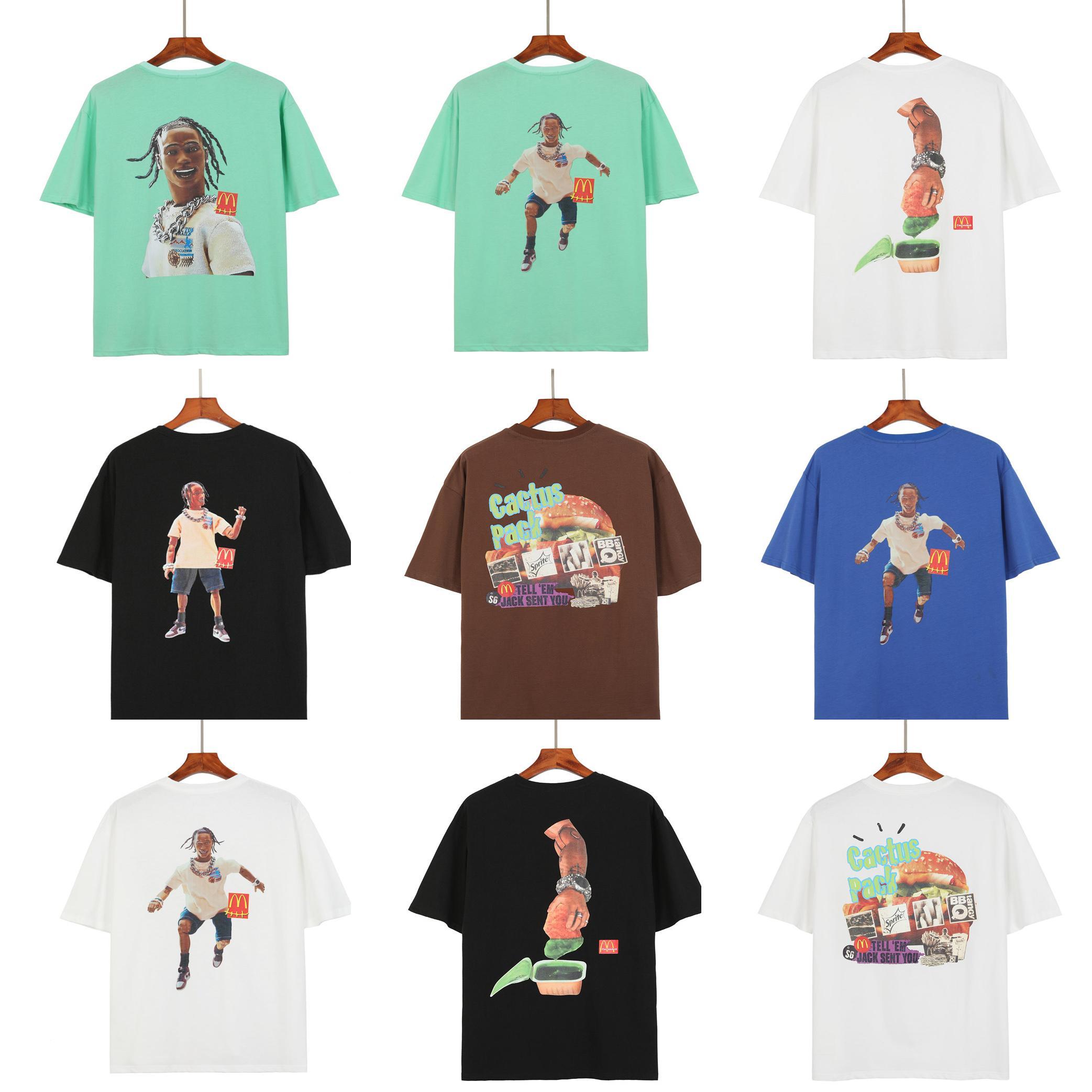 2021 망 디자이너 티셔츠 탑 QAULITY 티 블랙 티셔츠 캐주얼 여성 TRAVIS Scott Tee Print Tshirt Summer Mens 럭셔리 T 셔츠