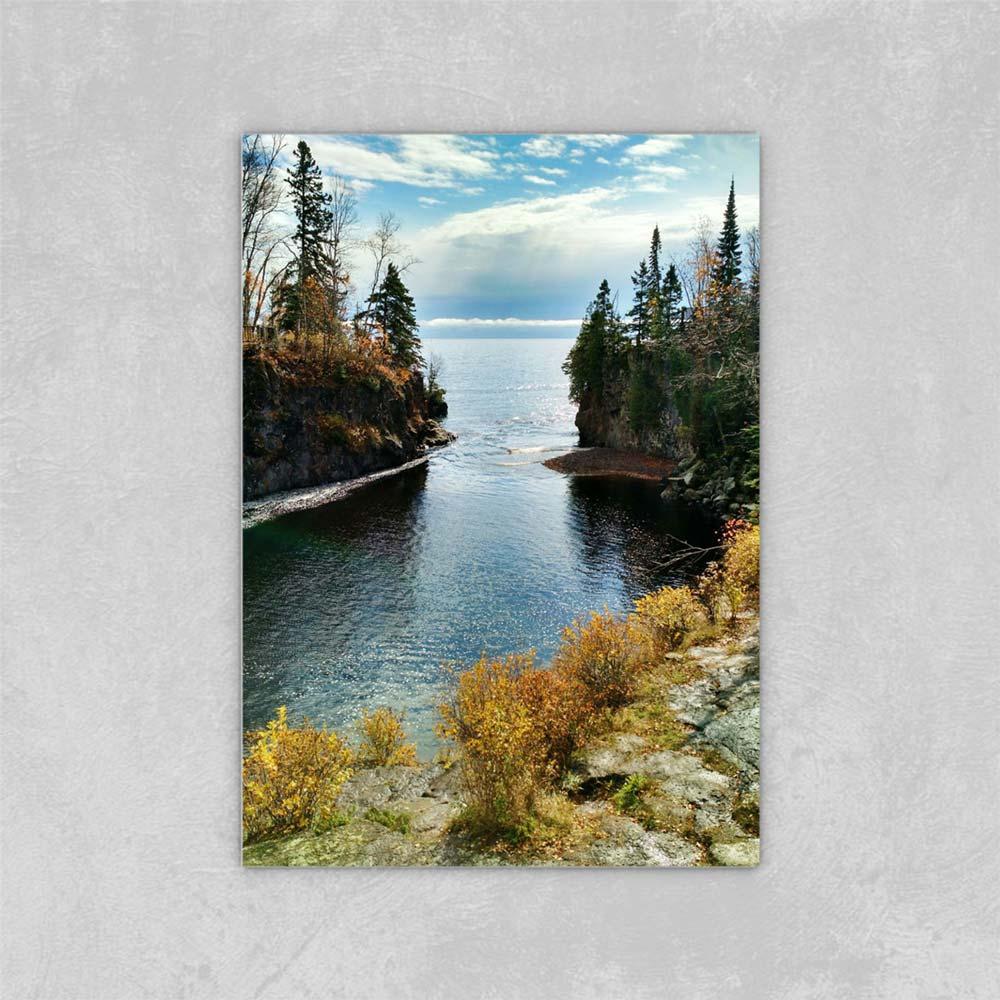 Leinwand Malerei Wandkunst Herbst Landschaften auf dem Nordufer des Lake DIY Leinwand Ölgemälde auf Leinwand Wanddekor 24x36 Zoll