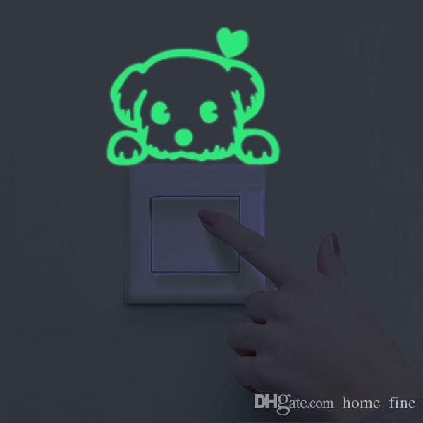 Leuchtende cartoon schalter aufkleber nacht eule leuchtende aufkleber fluoreszierende mond stern aufkleber kinderzimmer dekoration dekoration