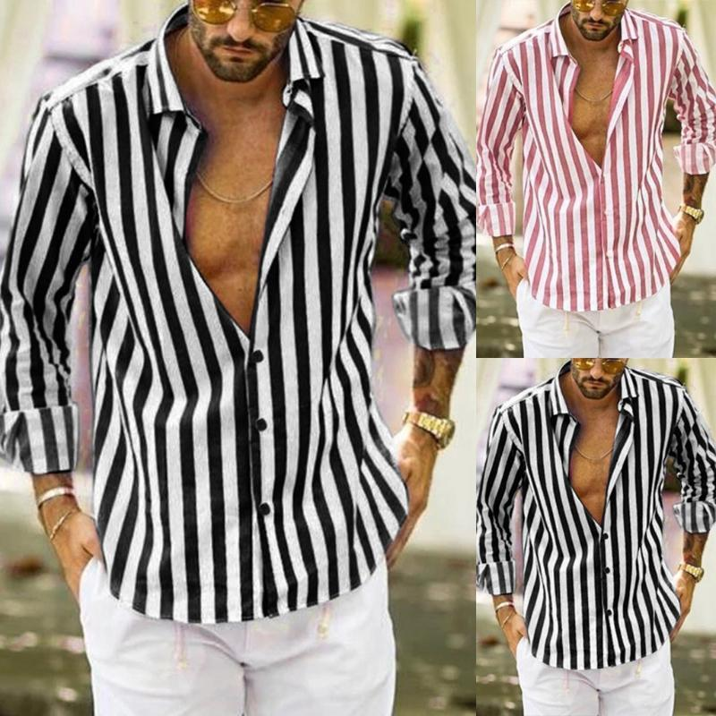 JAYCOSIN Men Fashion Shirt Vertical Striped Slim Fit Long Sleeve Casual Button Down Dress Soft Comfortable Shirts Blouse #45