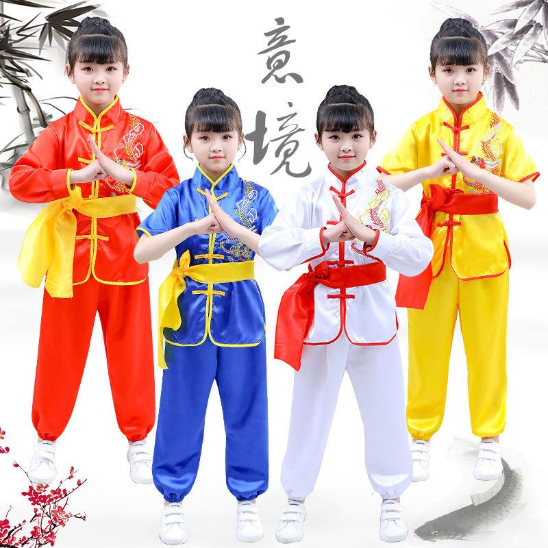 Costume tradizionale cinese Bambini Bambini Bambini Wushu Suit Kung Fu Tai Chi Unifori uniforme Mascot Arti Marziali Performance Abiti Abiti Arti Stage