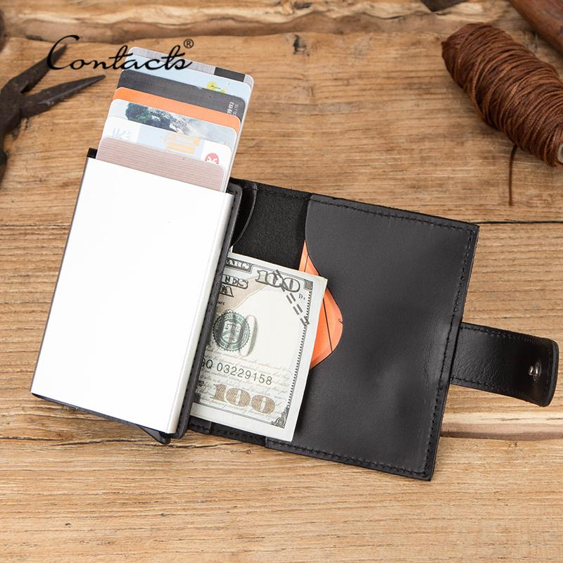 KONTAKT VIEBEN KARTENHALTER Echtes Leder Geldbörse Männer Kreditkartenetui Für Mann Aluminium Box RFID Blockieren Kleiner Münzgeldbörse