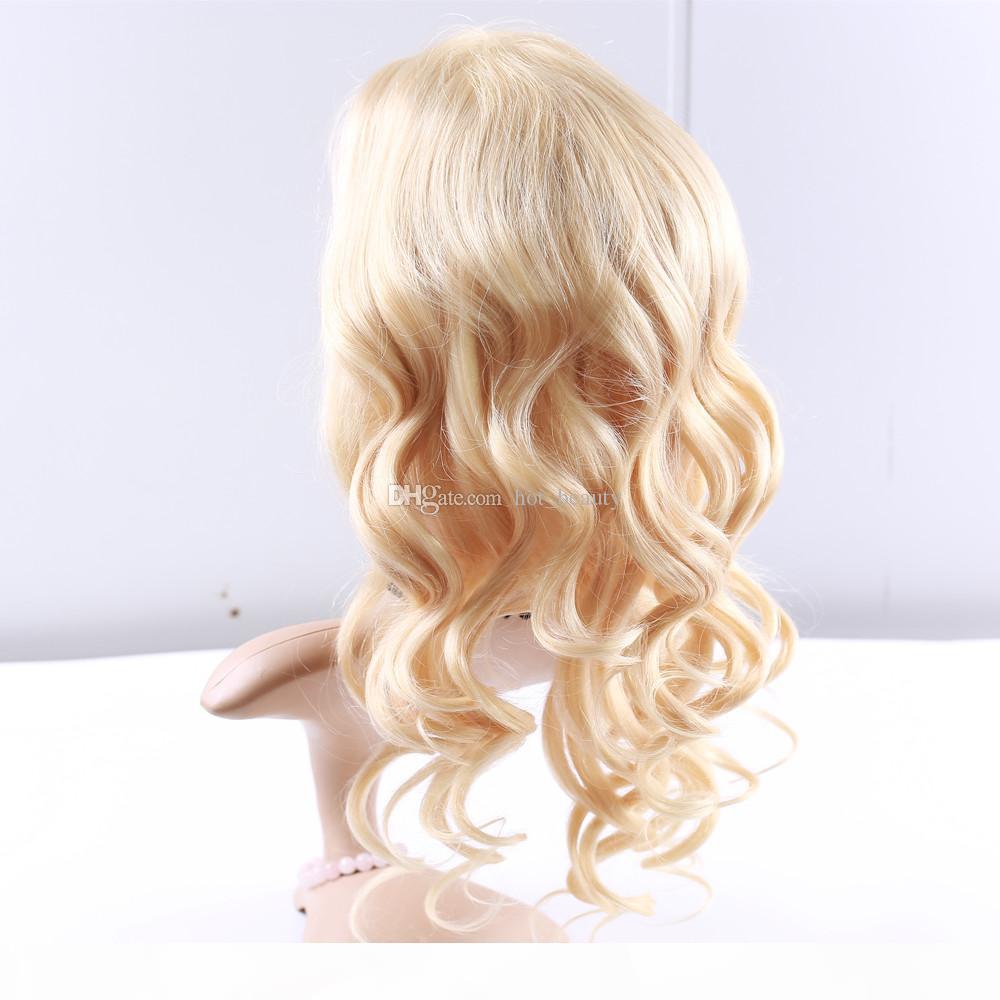 Parrucche del merletto anteriore del corpo della onda del corpo biondo di alta qualità # 613 Bionda brasiliana dei capelli del corpo del corpo del corpo pieno del corpo dei capelli umani capelli umani parrucche bionde Glueless