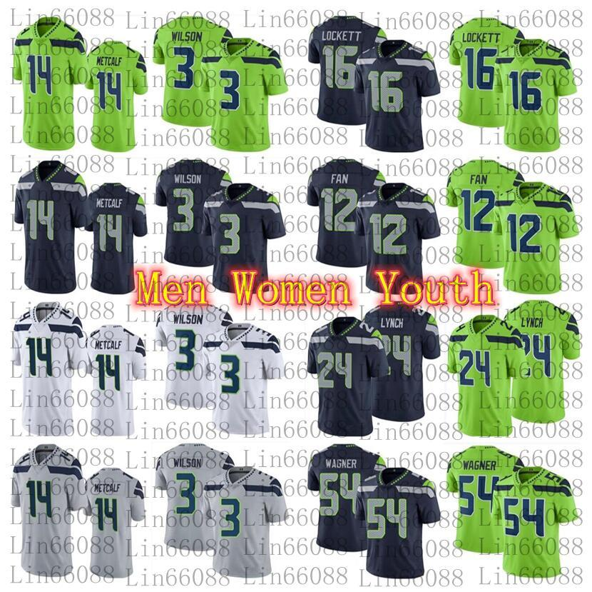 2020 New Men 3 Russell Wilson 14 DK Metcalf 54 Bobby Wagner 24 Marshawn Lynch 16 Tyler Lockett Women Youth jersey