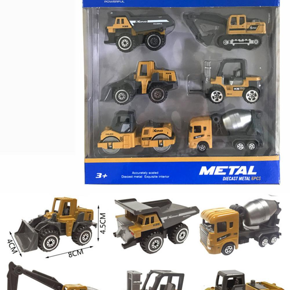 6 stücke set baby spielzeug mini baufahrzeug autos - Gabelstapler, Bulldozer, Straßenrolle, Bagger, Muldenkipper, Traktor Spielzeug Y1201