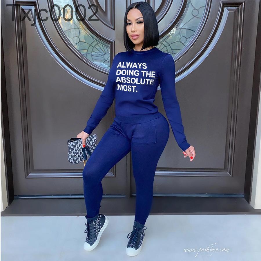 Designer Trainingsanzüge Frauen Schweißanzüge Zwei Stück Outfits Mode Slim Trainingsanzug 2021 Frühlingsbuchstaben Drucken Langarm Hosen Anzug Kleidung