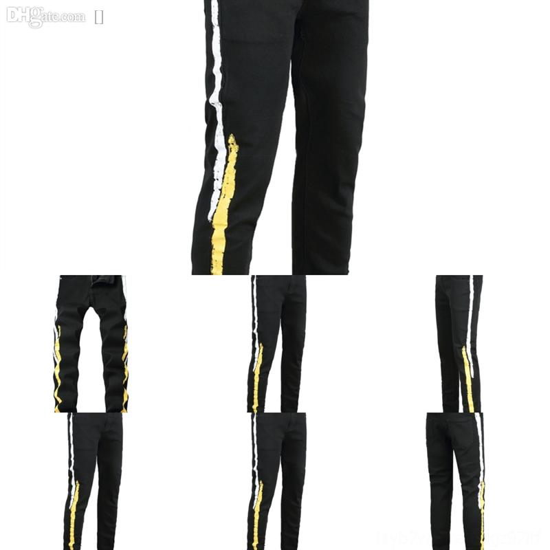 Hua Hommes Black Jeans Droite Jeans Casual Fashion Homme Hommes Pantalons Blanc Bleu Design Slim Noir