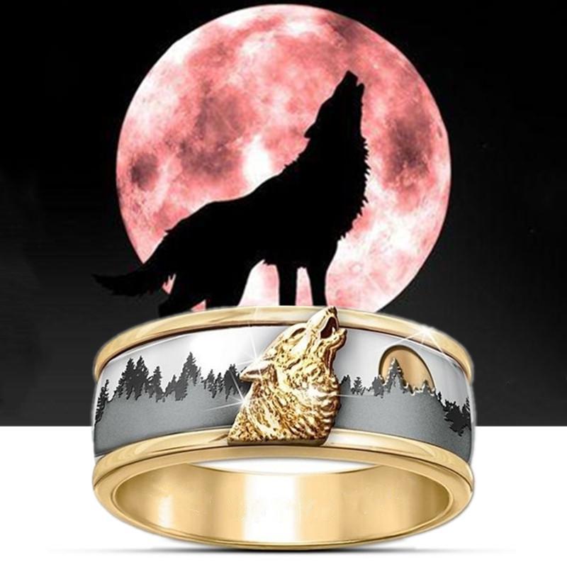 Fdlk 2020 caldo di vendita Two Tone Oro Argento di colore Call of the Wild Viking gioielli Lupo Anello Moda Uomo Banda