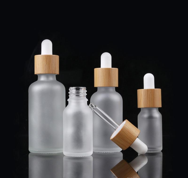 Bottiglie per gli occhi in vetro essenziale bottiglia di contagocce bottiglie liquido Bamboo Aromaterapia Droper Dropper Gressato Pipetti Glassato Oli profumi Profumi Cap LUQDI