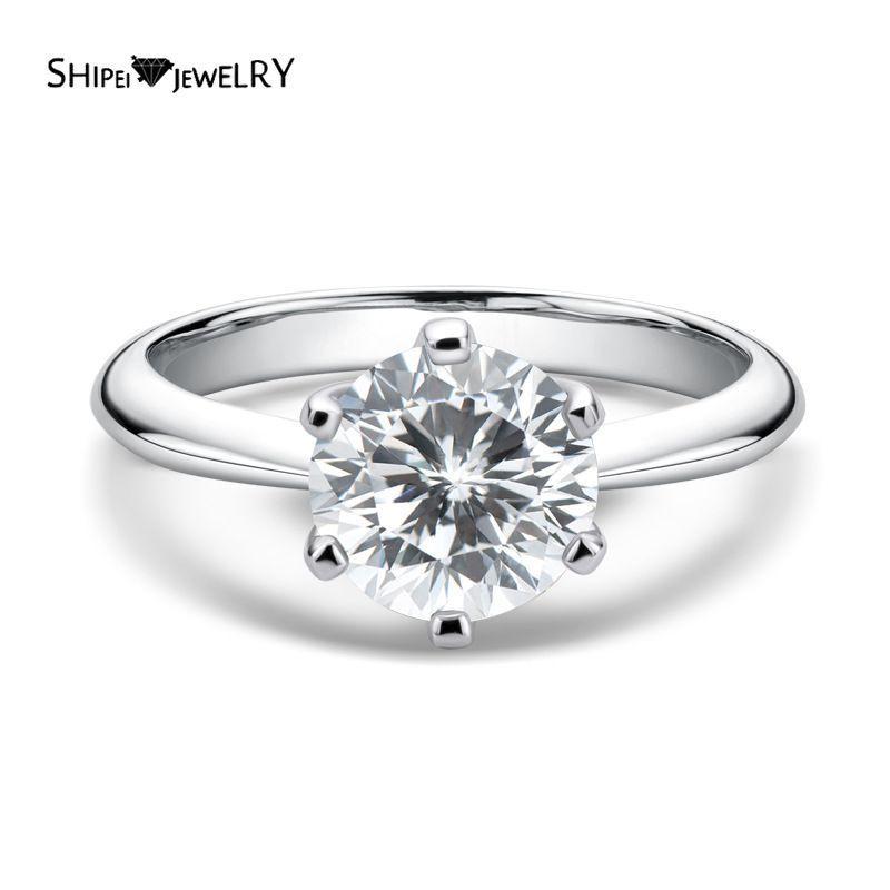 Shipei 100% 925 Sterling Silver Round Cut 2ct Criado Moissanite Gemstone Casamento Noivado Anel Clássico para Mulheres Fine Jewelry J1208