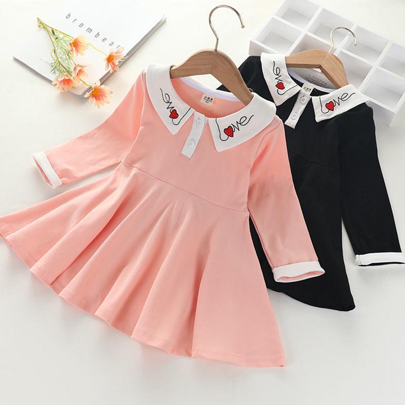 Autumn New Baby Girl Princess Dress Abito a maniche lunghe Girls Abito per bambini Gonna pieghettata Stampa del cuore coreano