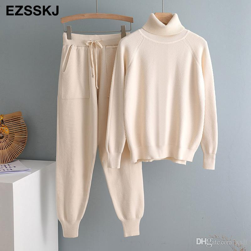 2020 2 Stück Set Frauen Gestrickte Trainingsanzug Turtscheck Pullover + Karotte Jogging Hosen Pullover Pullover Set Chic Gestrickte Outwear