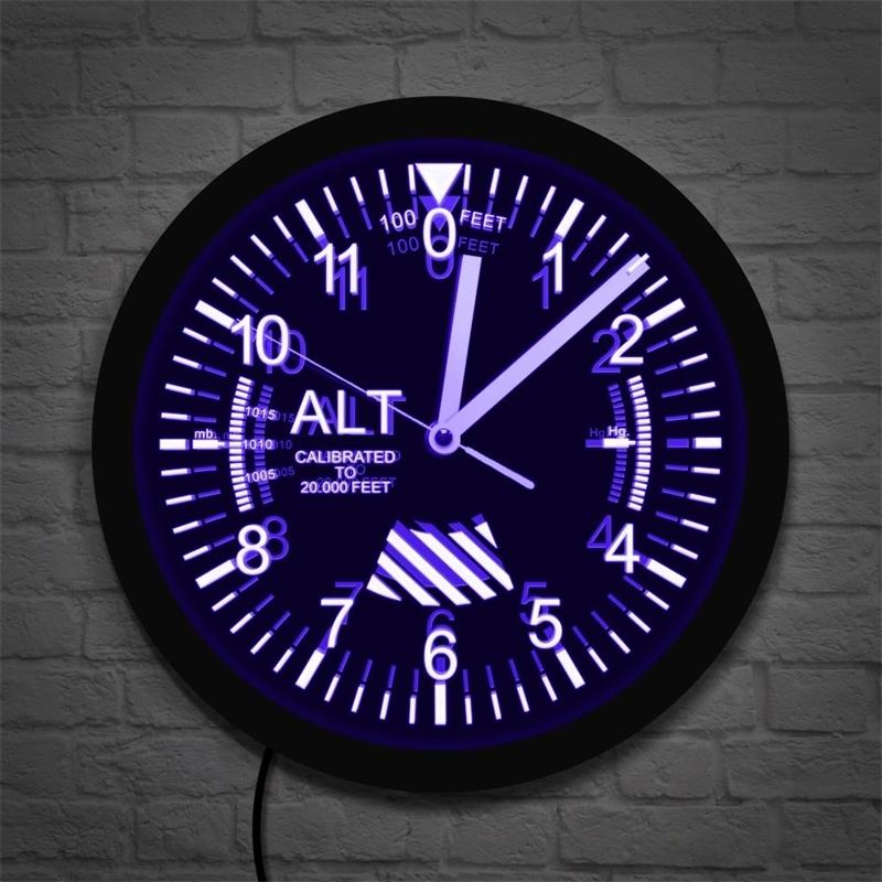 Altimeter Neon Sign LED Wall Clock Altitude Meter Tracking Pilot Air Plane Altitude Measurement Modern Wall Clock Watch Gag Gift Y200407