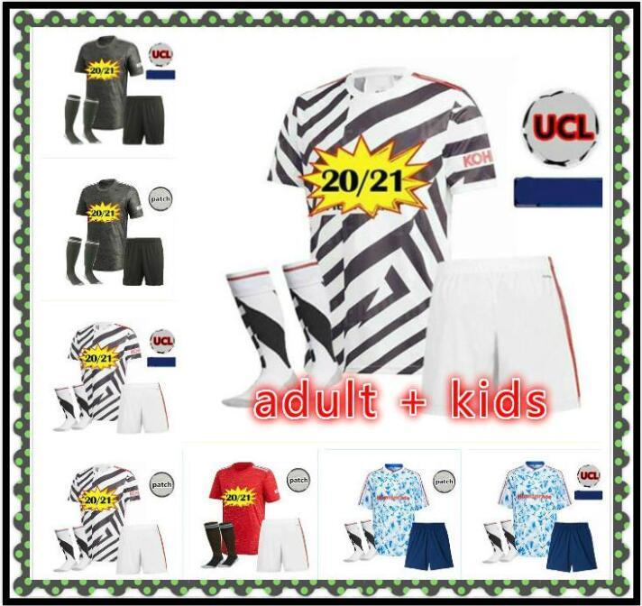 2020 2021 United UTD Soccer Jersey Cavani Van de Beek B. Fernandes Jerseys Martial Rashford Chemises de football 2020 2021 Homme + Kit enfants