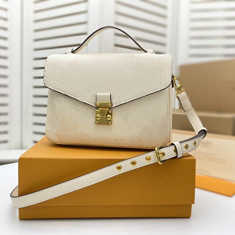 Diseñadores de lujos bolsas de mujer Pochette Métis Bolso Bolso Hombro En relieve Cuero de Cuero de Cuero Negro Blanco Bolsas de Crossbody con caja