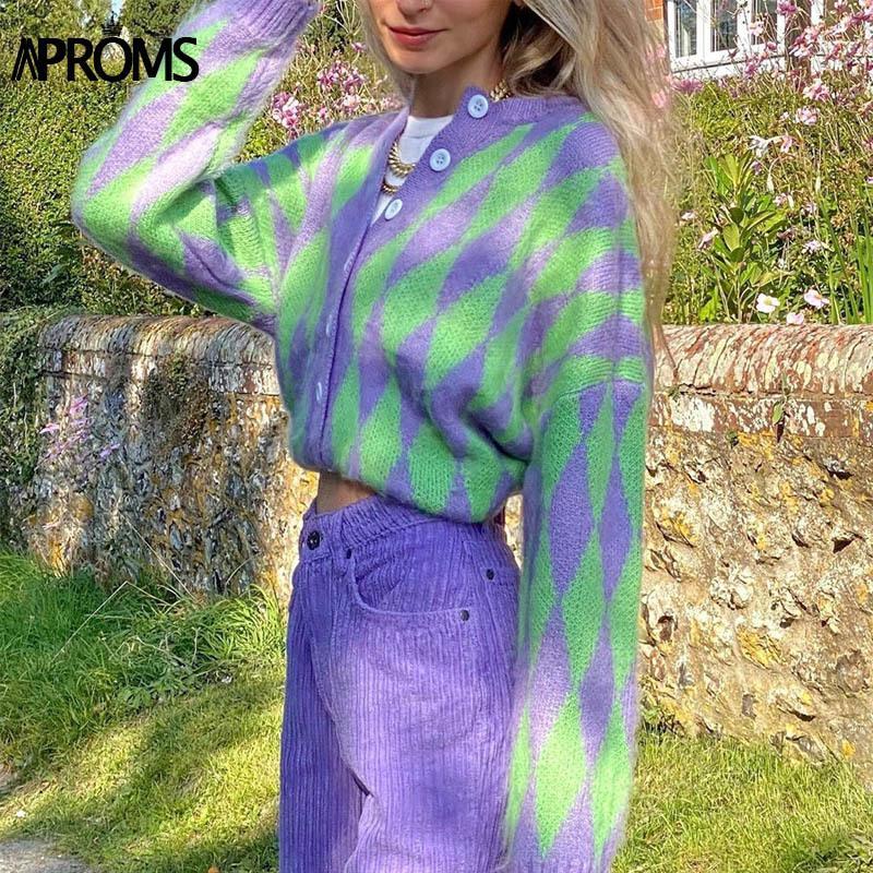 Aprenda Vintage Verde Roxo Manta Malha Cardigan Mulheres Winter Soft Soft Sweater Feminino Alta Moda Outerwear 2021 F1230