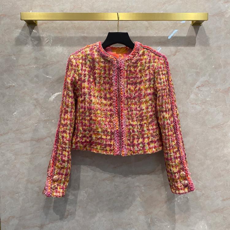 2020FW Yeni Sonbahar Moda Kadınlar Renkli Tüvit Ceket Kaban Bayanlar için Lüks Yün Giyim QBR Z1211