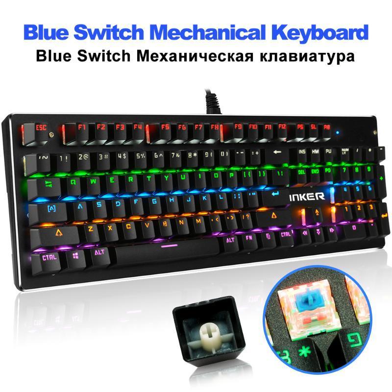 Mechanical Keyboard 104 Keys Blue Switch 13 LED Backlit Mode Gaming Keyboards for Laptop Desktop Wired USB teclado