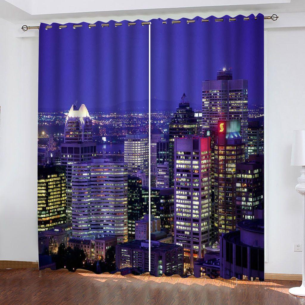 Özelleştirilmiş Boyutu Lüks Karartma 3D Pencere Perdeleri Oturma Odası Gece City Perdeleri Dekorasyon Perdeleri