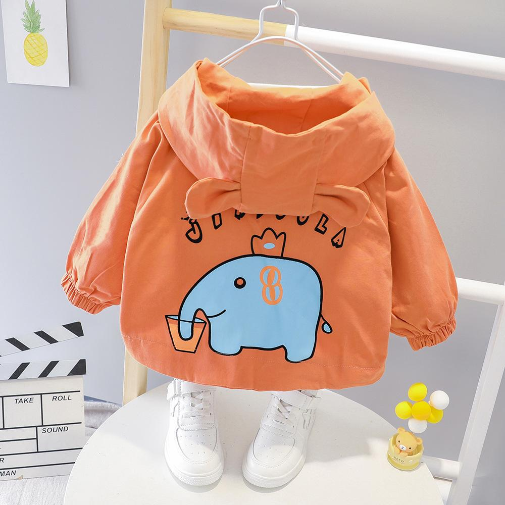 Autumn Baby Girls Cute Elephant Long Sleeve Hooded Jackets Cardigans Children Kids Leisure Coats Infant Boys Outerwear casaco F1221