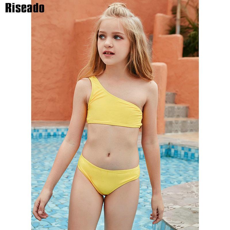 Riseado Un hombro Sexy Bikini Set Amarillo Traje de baño Niños Baja de cintura baja Cintura 2021 Ropa de playa de verano Bikinis brasileña J1208